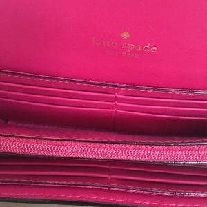 kate spade Bags - Kate Spade Navy Blue & Pink Leather Flap Wallet